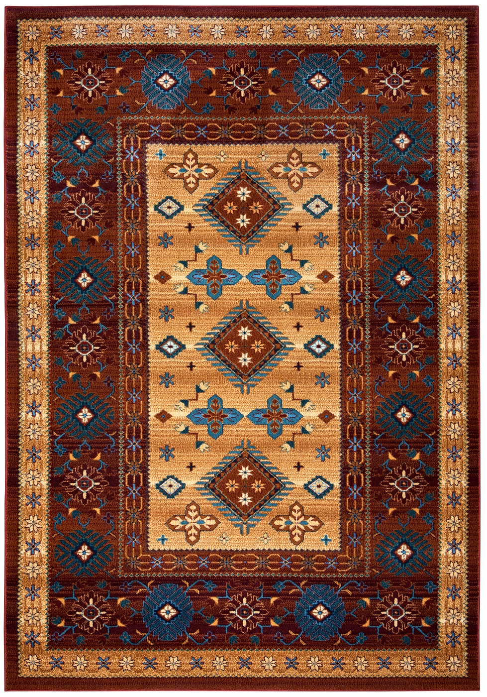 Bellevue Border Southwest Tribal Area Rug In Tan Blue