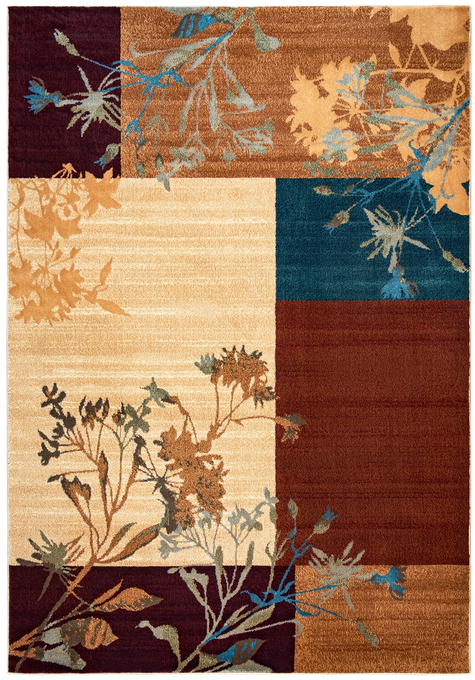 Bellevue Floral Block Area Rug In Beige Blue Burgundy 9 2