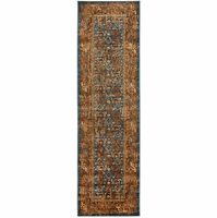 """Rizzy Home Bellevue Soft Rectangle Soft Runner Area Rug 2'3 x 7'7""""Blue Tan Brown"""