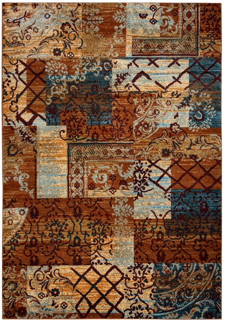 Bellevue Rustic Patchwork Area Rug In Beige Blue Burgundy 6 7 X 9 6