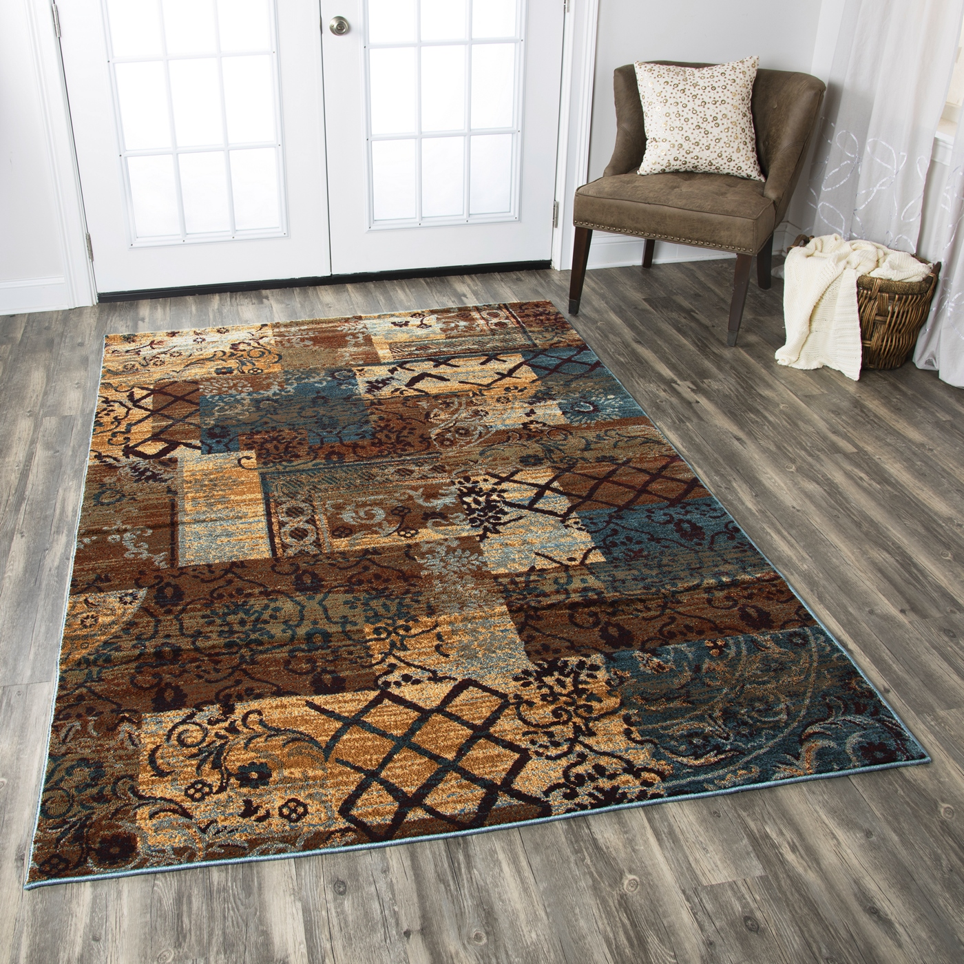 Shop Linon Moroccan Mekenes Camel Brown Rug: Bellevue Rustic Patchwork Area Rug In Beige Blue Burgundy