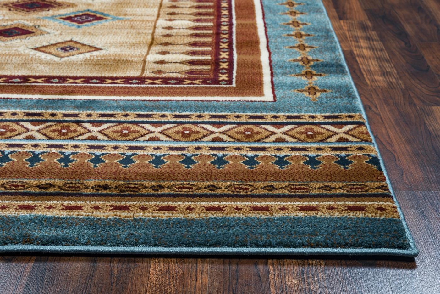 Bellevue Southwest Diamond Area Rug In Tan Blue Burgundy