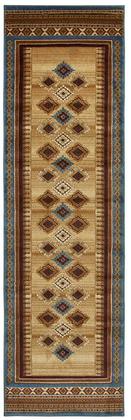 Bellevue Southwest Diamond Runner Rug In Tan Blue Burgundy
