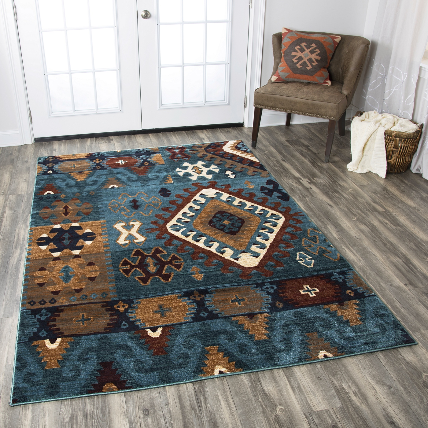 Bellevue Southwest Tribal Pattern Area Rug In Blue