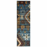 """Rizzy Bellevue Soft Loom Runner Area Rug 2'3 x 7'7""""Blue Red Tan Southwest/Tribal"""