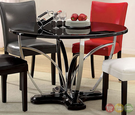 Belliz contemporary black lacquer table casual dining set for Casual dining table and chairs