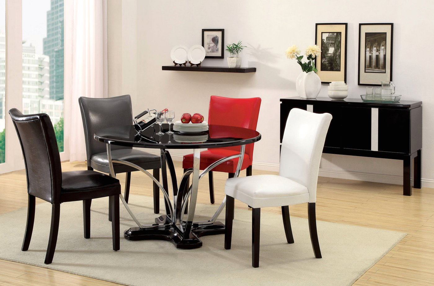 belliz contemporary black lacquer table casual dining set with leatherette parson chair cm3177bk. Black Bedroom Furniture Sets. Home Design Ideas