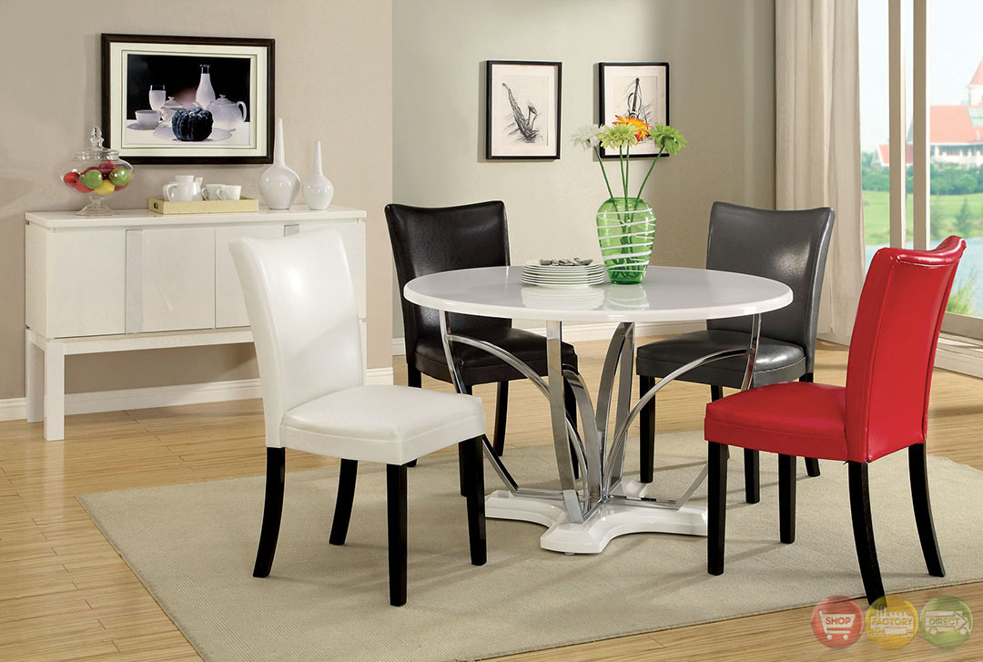 belliz contemporary white lacquer table casual dining set with leatherette parson chair cm3177wh. Black Bedroom Furniture Sets. Home Design Ideas