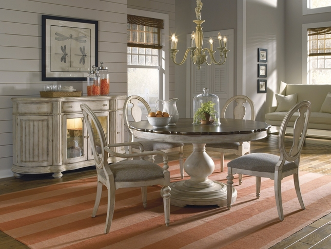 Belmar Luxury Coastal Whitewash Finish Round Oval Dining Table Chairs Set