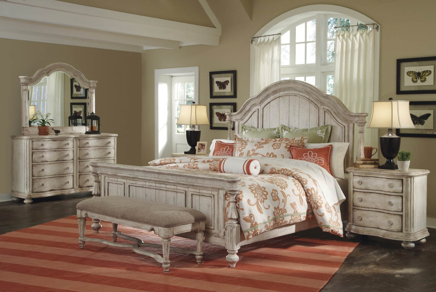 Belmar ii whitewash finish casual panel bedroom set - The room place bedroom furniture ...