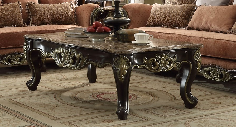 Belmond Old World Marble Top Coffee Table With Ornate Ebony Fame