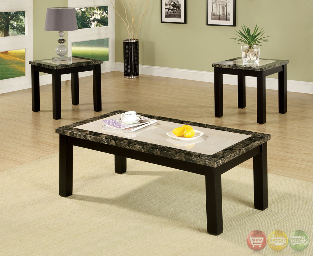 Atlas V Contemporary Black Accent Tables With Faux Marble
