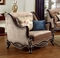 Belvedere Victorian Beige Chair With Birch Wood Frame In Ebony & Gold