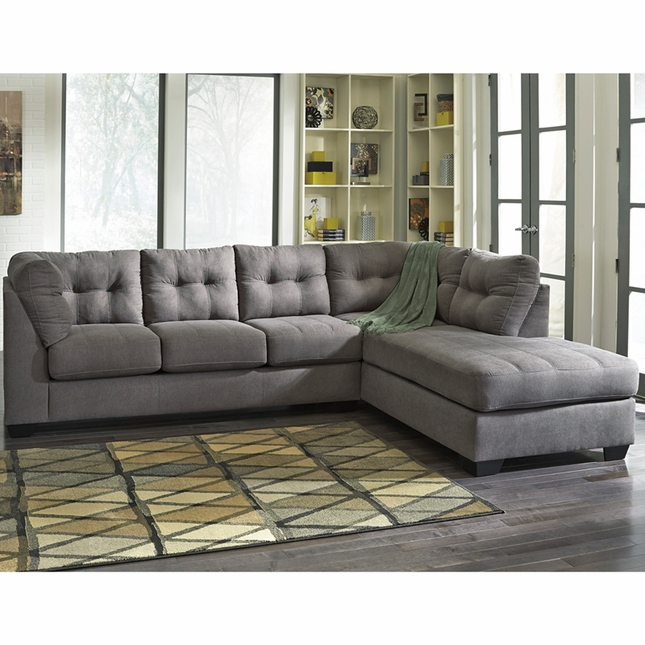 Benchcraft Maier Sectional With Right Side Facing Chaise In Charcoal Microfiber