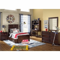 Benchmark Transitional Root Beer Finish Panel Full Youth Bed