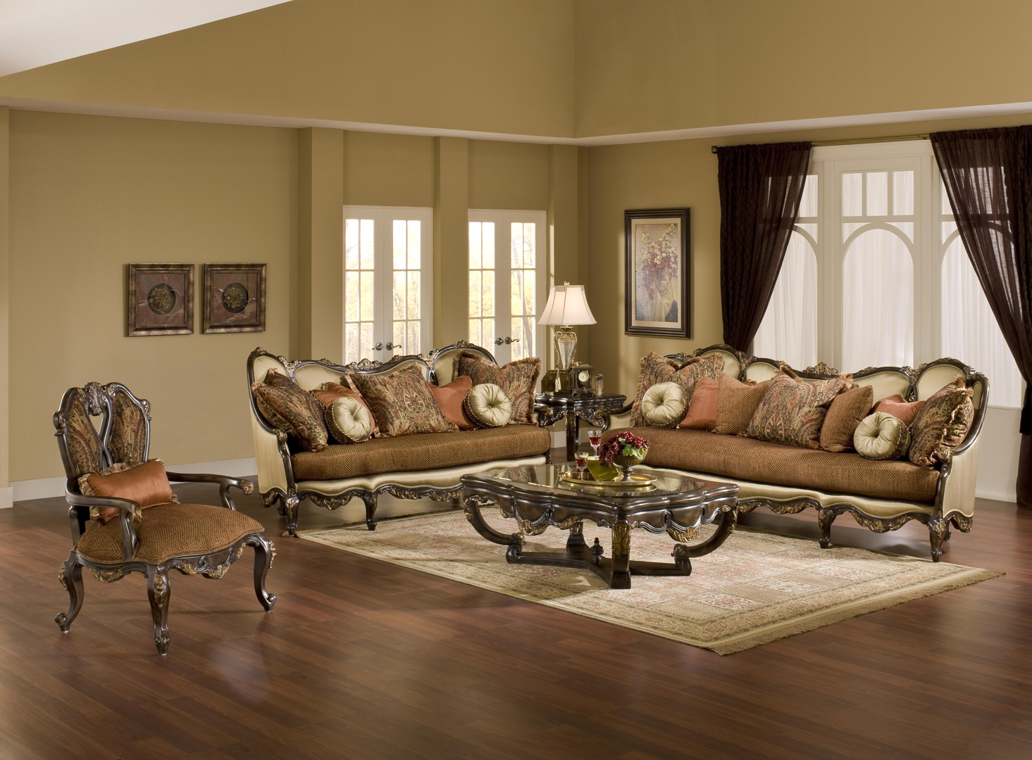 Abrianna exposed wood warm cherry finish antique style sofa - Elegant formal living room furniture ...