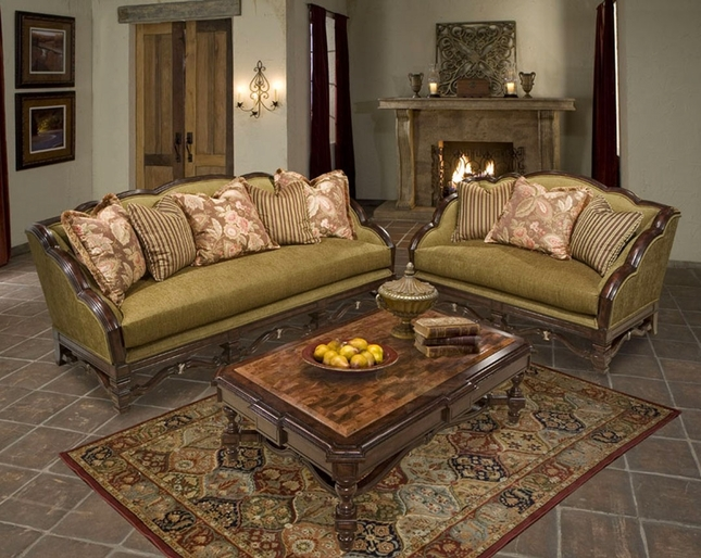 Alyssa Warm Cherry Metallic Gold Upholstery Luxury Sofa Set