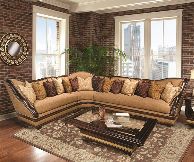 Beladonna Walnut Brown Plush Fabric Sectional Sofa