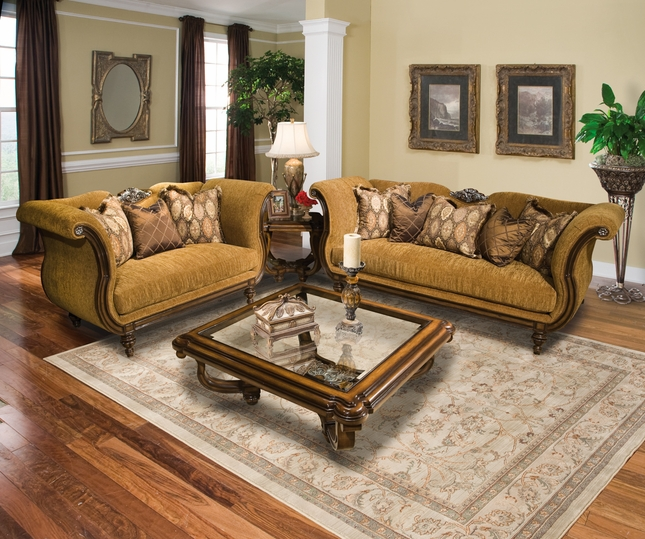 Bianca Classic Chenille Upholstery Formal Living Room Sofa