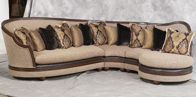 Donatella Luxury Exposed Solid Wood Frame Sectional Sofa