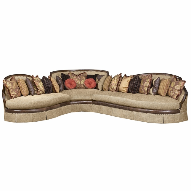 Ferrara Walnut Finish Fabric Upholstery Curved Luxury Sofa