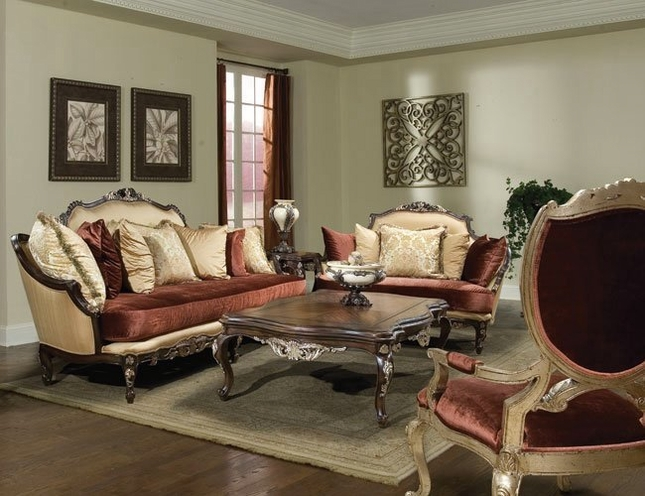 Fiore Cabriole Legs Luxurious Fabric Upholstery Sofa Set