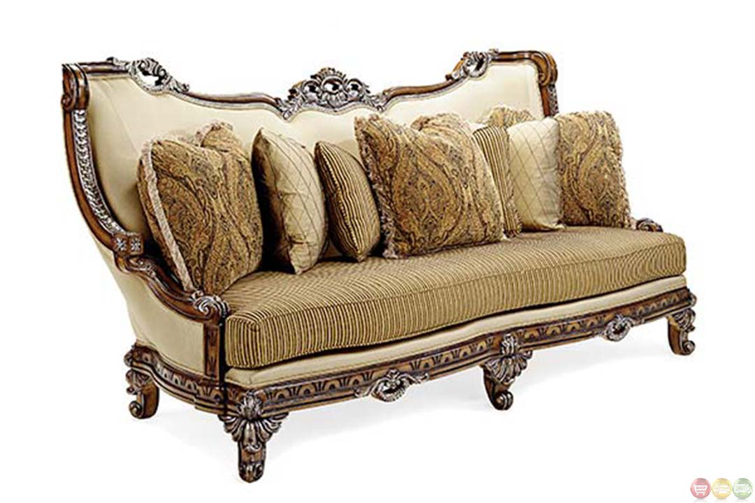 firenza traditional antique style exposed wood frame sofa. Black Bedroom Furniture Sets. Home Design Ideas