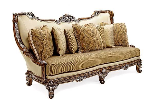 Firenza Traditional Antique Style Exposed Wood Frame Sofa Set