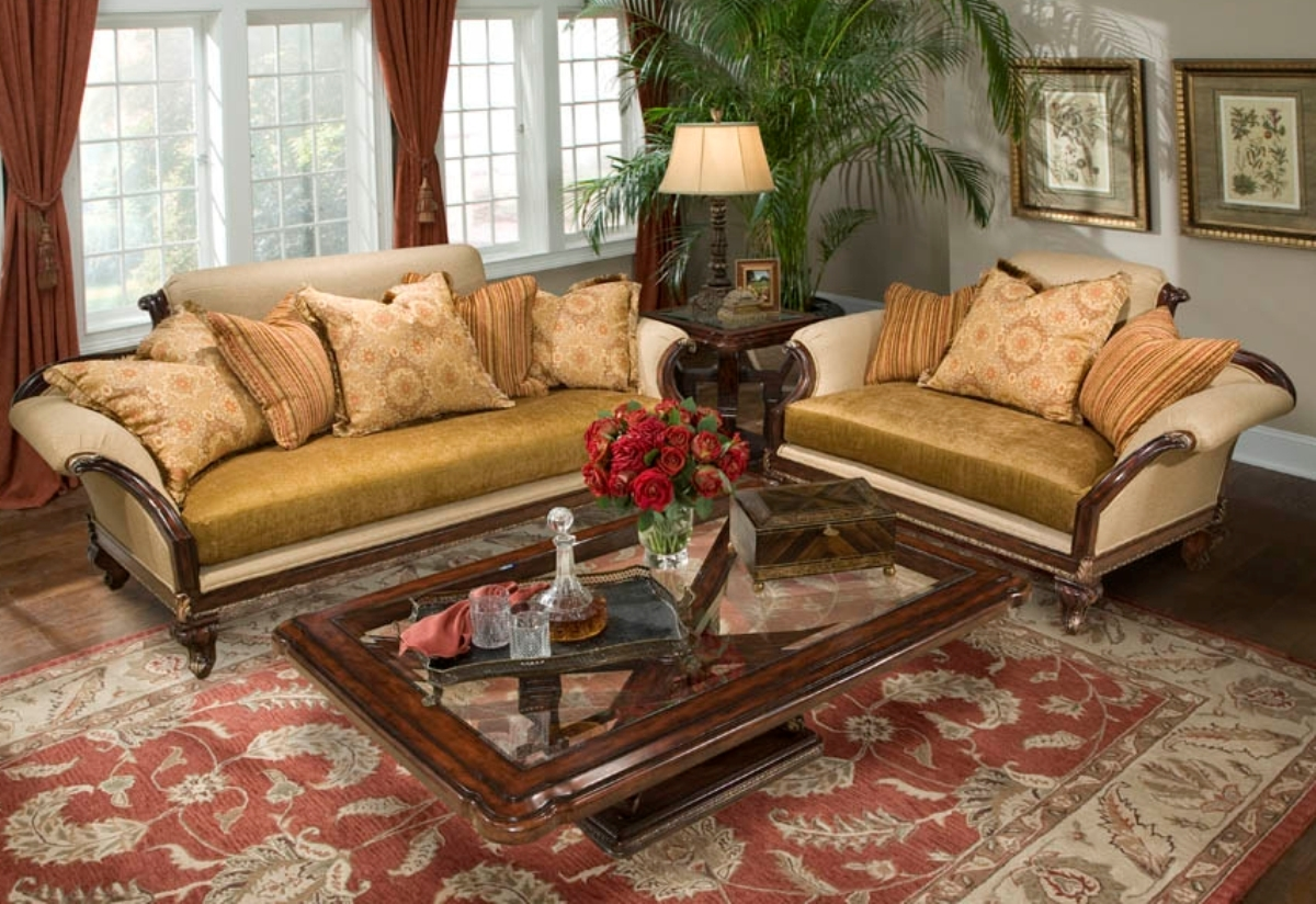 Isadora rolled arm upholstered formal antique style sofa set for Formal sofa sets