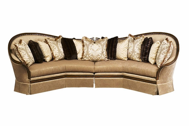 Luna Exposed Solid Wood Frame Sectional Sofa with Pillows