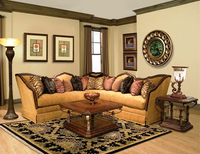 Mirella Chenille Fabric Upholstery Sectional Sofa with Pillows