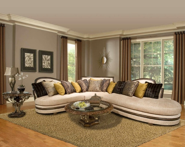 Ravenna Right Facing Upholstered Sofa With Accent Pillows