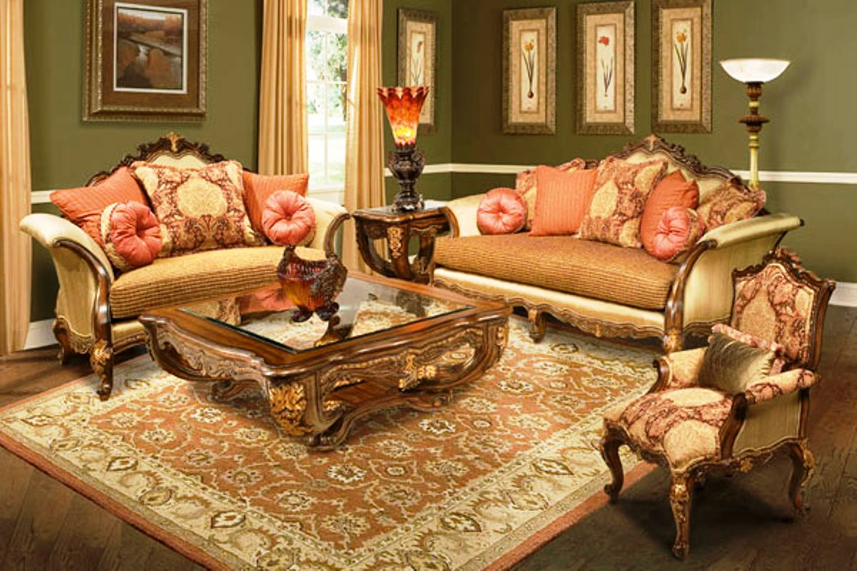 Regalia hand carved solid wood frame formal sofa for Formal sofa sets