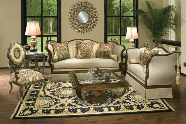 Renata Classic Exposed Wood Frame Antique Style Sofa Set