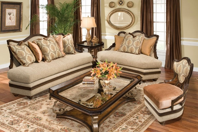 Romana Traditional Warm Brown Finish Wide Back Sofa Set