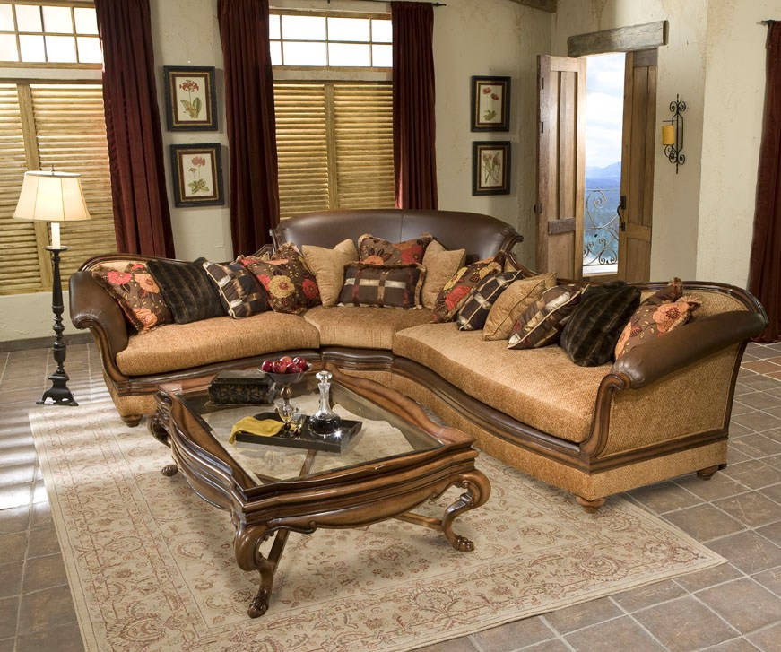 Salvatore hand carved exposed wood frame sectional sofa