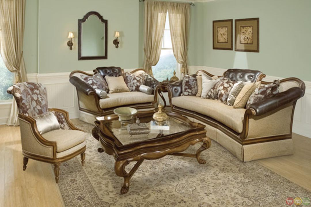 Salvatore Antique Style Button Tufted Living Room Sofa Set