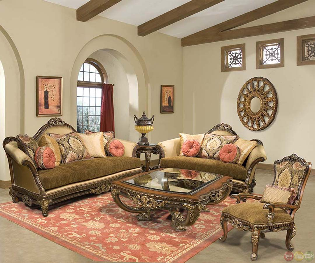 Sicily ornate hand carved solid wood antique style sofa set for The room furniture