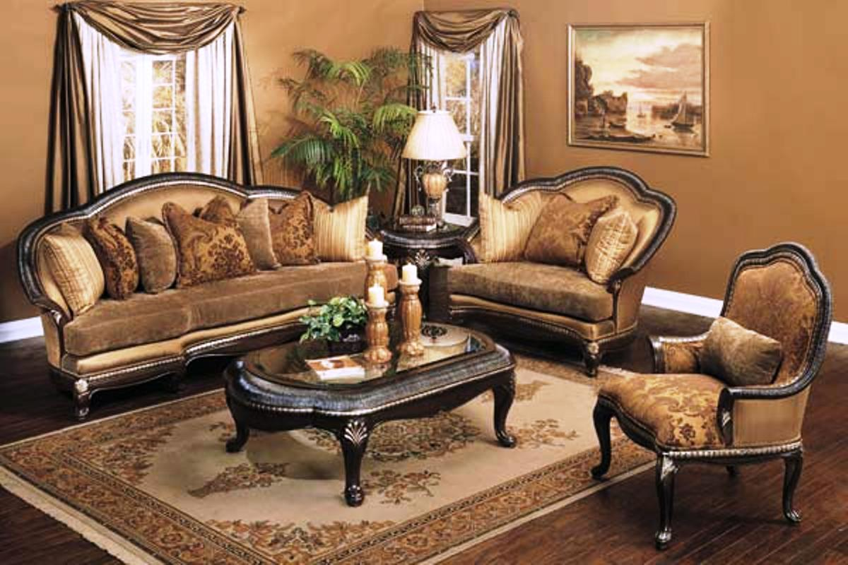 Treviso antique style exposed wood luxury formal sofa set for Formal sofa sets