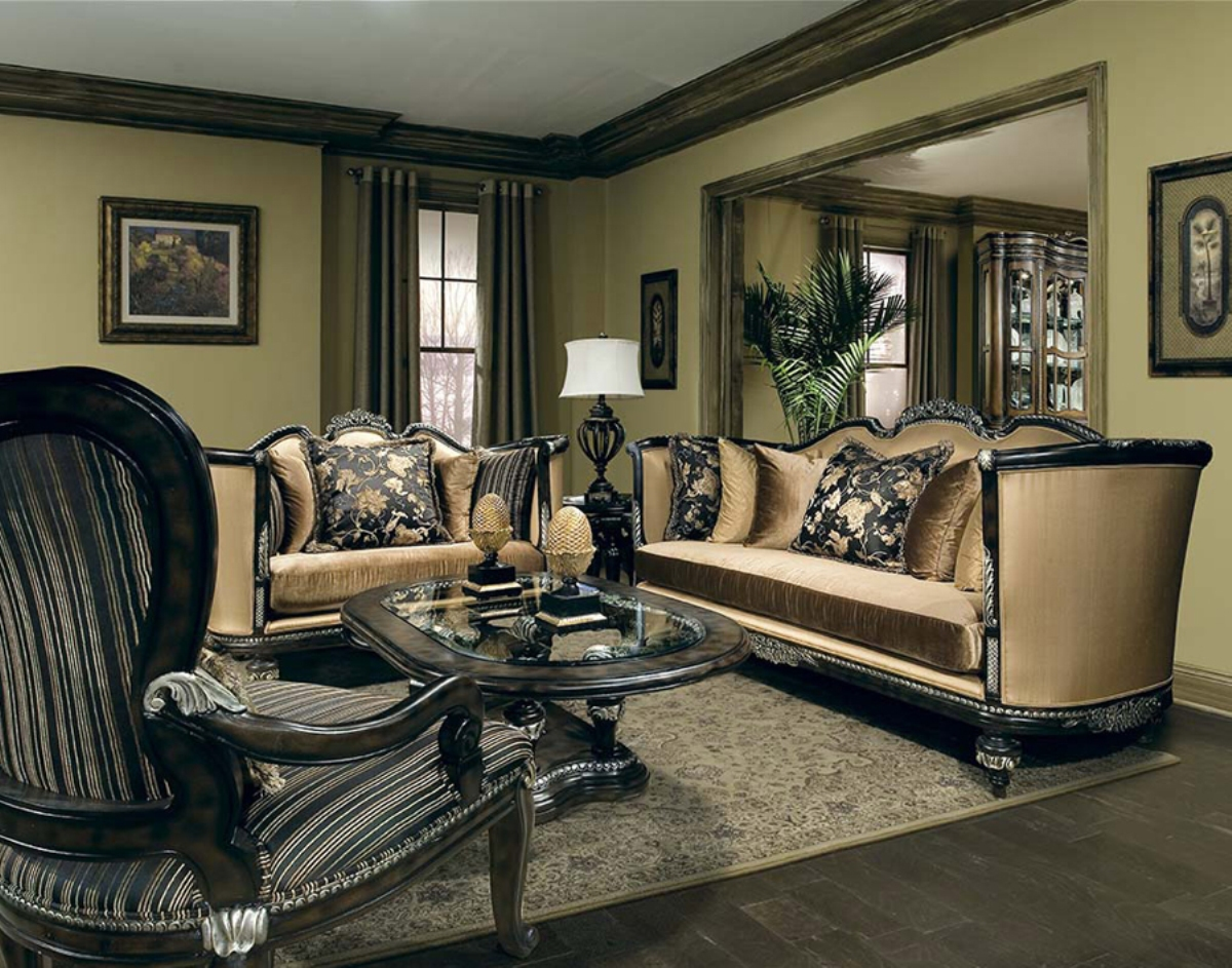 veneto hand carved solid wood high end formal living room set