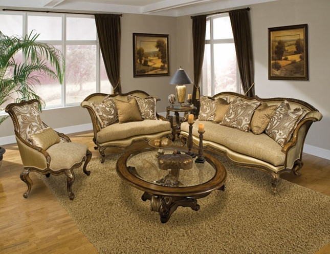 Venezia Classic Design Carved Wood Antique Style Sofa Set