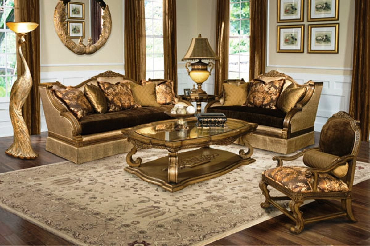 Violetta luxury exposed wood frame living room furniture set - Living room with wooden furniture ...