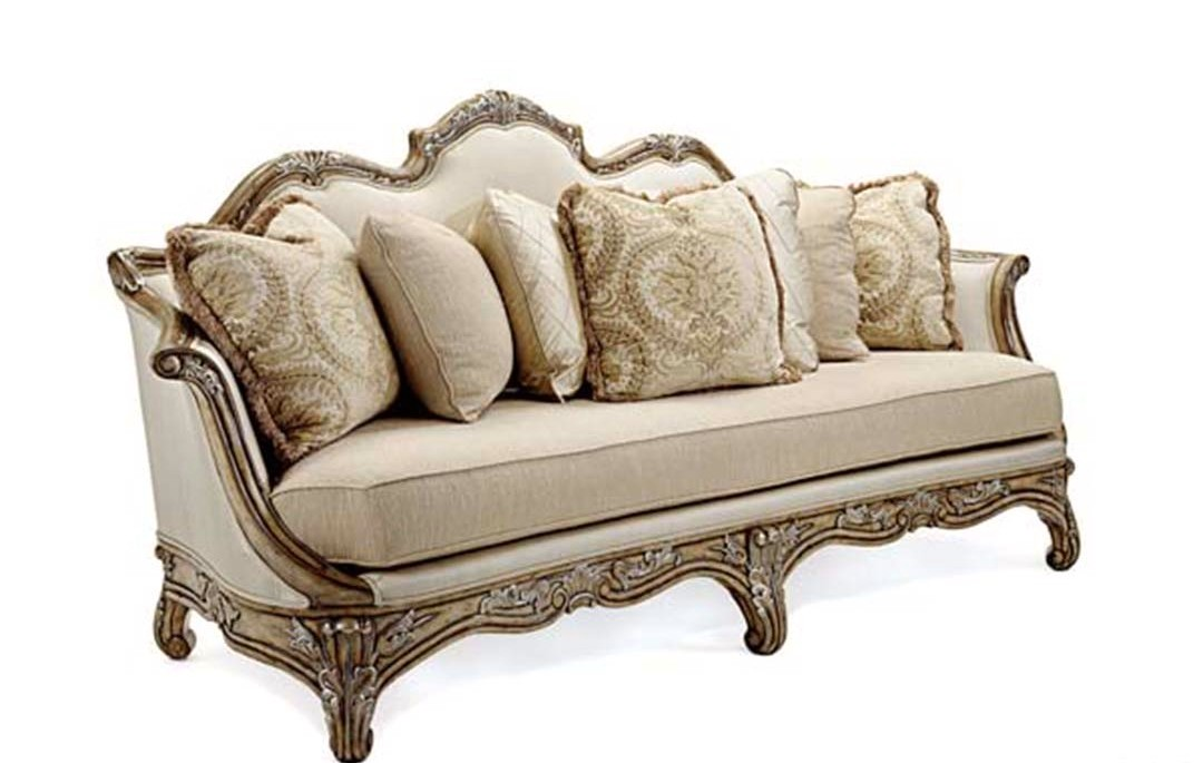Vivacci Exposed Solid Mahogany Wood Frame Formal Sofa Set