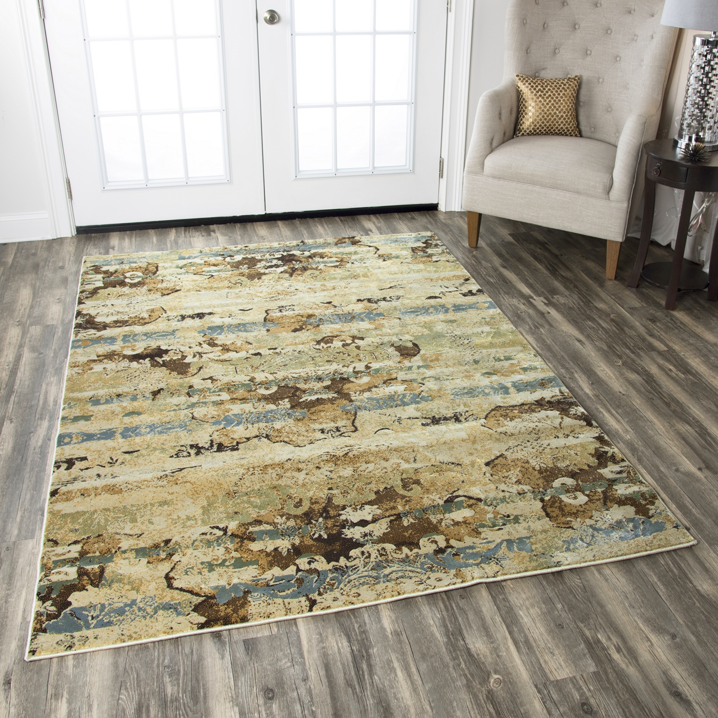 Bennington Abstract Graphic Pattern Area Rug In Ivory Sage