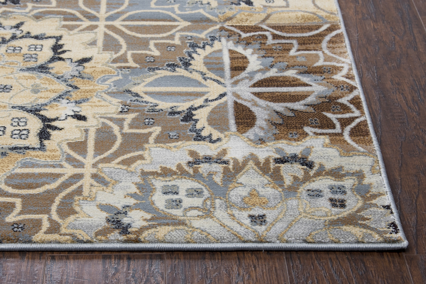 Bennington Floral Trellis Area Rug In Blue Yellow Brown 3