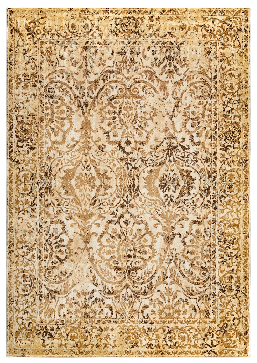 Bennington Sandy Damask Border Area Rug In Tan Amp Ivory 5