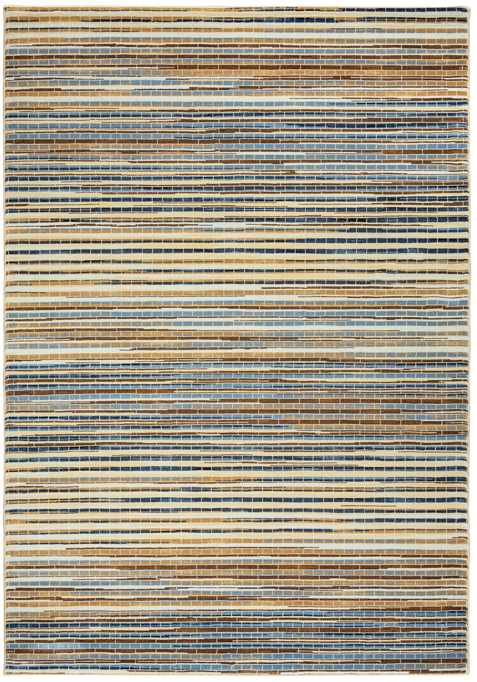 Bennington Segmented Stripe Pattern Area Rug In Blue