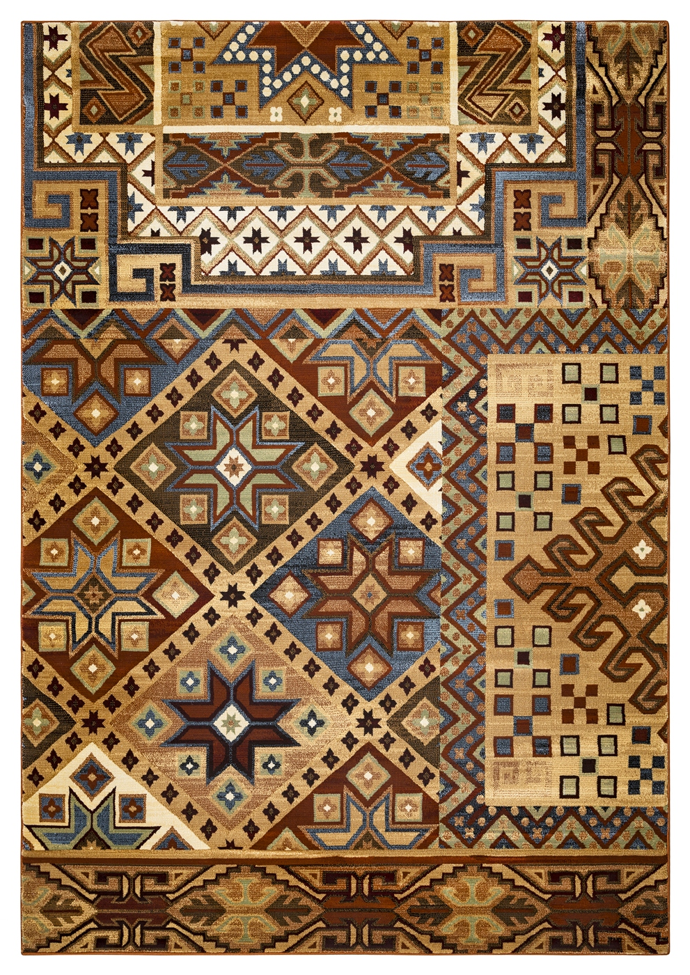Bennington Southwest Tribal Area Rug In Camel Blue