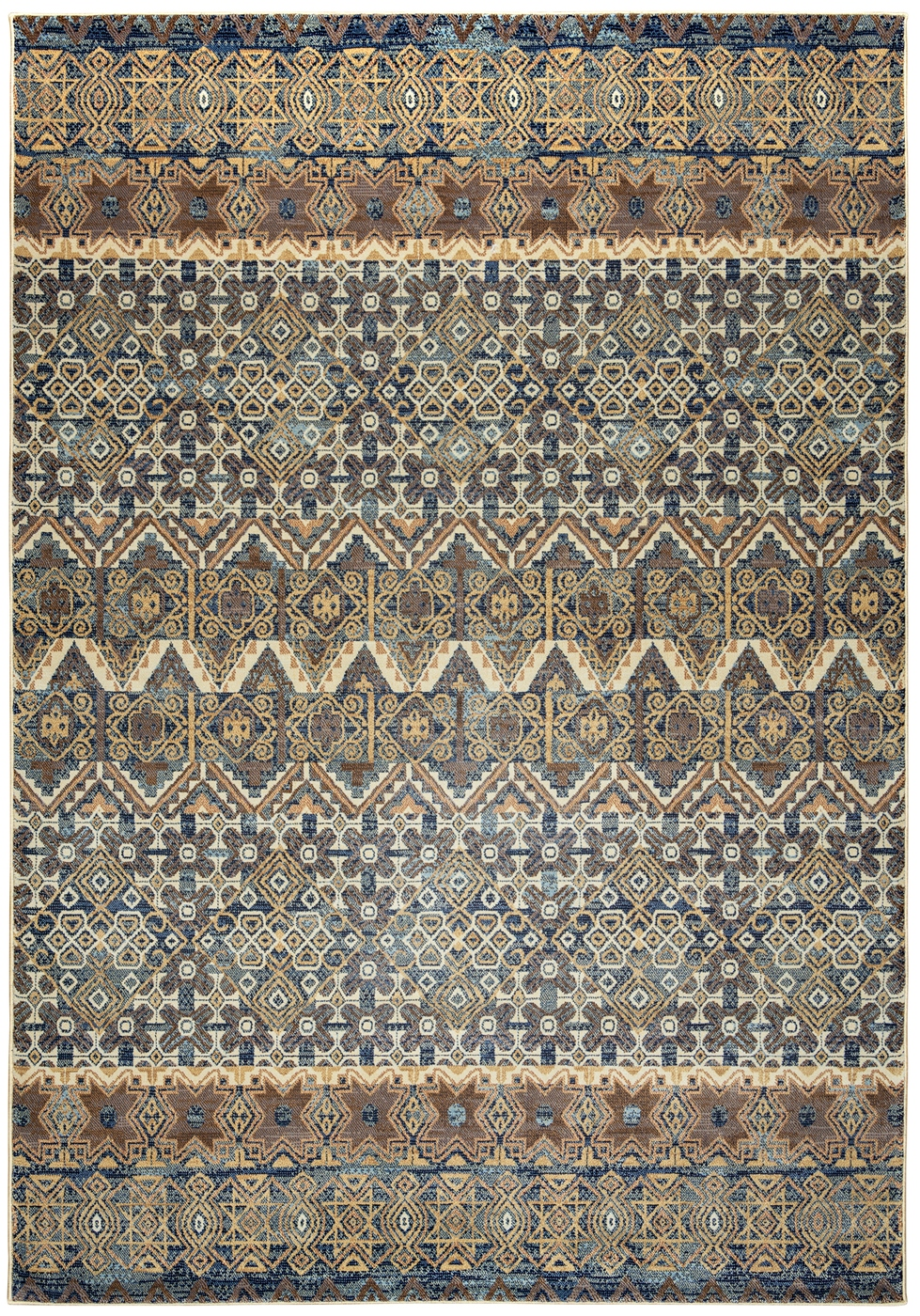 Bennington Tribal Print Area Rug In Grey Ivory Beige 3 3