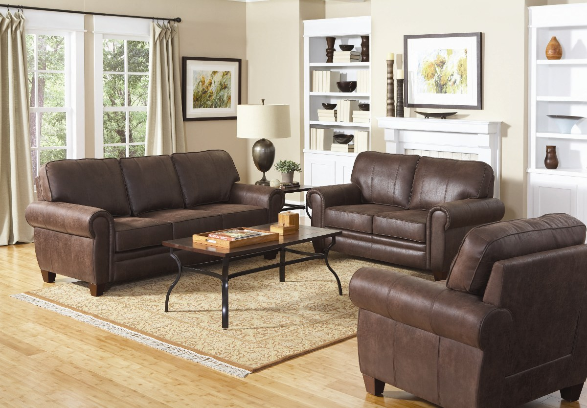 Bentley brown microfiber rustic style family room sofa set for Living room suites furniture